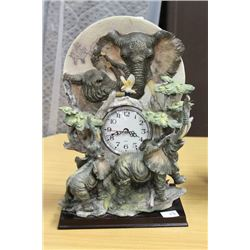 "DECORATIVE ELEPHANT CLOCK 12"" TALL"