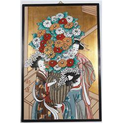 Japanese Kimono Women & Flowers Painting on Board?