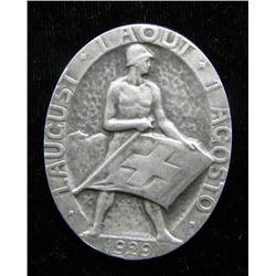 1929 Franz Wagner Swiss Pin Medal-Huguenin Locle Mint