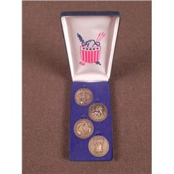 1776-1976 SET OF 4 CASED BRASS TYPE COMMEMORATIVE COINS