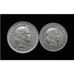 2 Gem Unc Choice Swiss 10 + 20 Rappen Coins 1932 + 1929