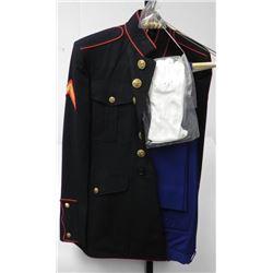 WWII U.S. MARINE DRESS BLUE UNIFORM-2 PR PANTS-MED SIZE