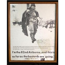 Framed Picture of Soldier in 82nd Airborne