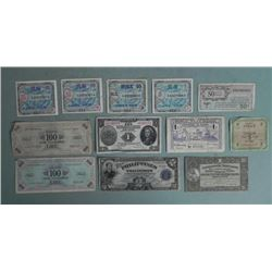 12 Pcs WWII Paper Currency China,Japan,Italy,France,US