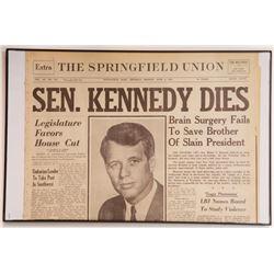 """""""Sen. Kennedy Dies"""" Springfield Union Newspaper Front"""