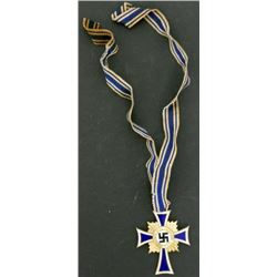 Nazi German WWII Gold Trim Mothers Cross with Ribbon
