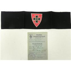 NAZI REICHSKRIEGERBUND ORIG ARMBAND & MEMBERSHIP BOOK