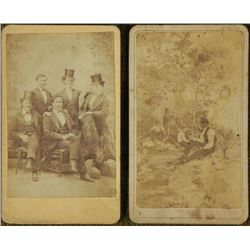 2 Antique CDV Photographs Men in Top Hats, Outdoors