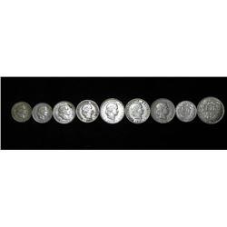 9 Hi-Grade Switzerland Coins - Some Silver - 1887-1959
