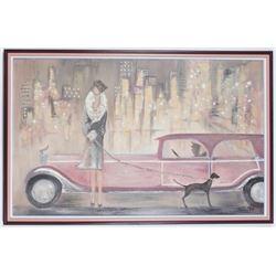 Original Painting Deco Mixed Media Woman Dog Limo Car