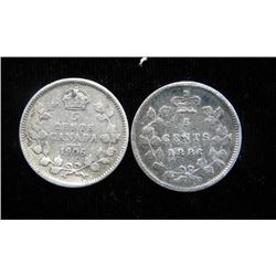 2 Silver Canadian Nickels 1886 + 1905