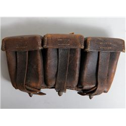 NAZI AMMUNITION POUCH-3 COMPARTMENT TAG ID'D BY VET