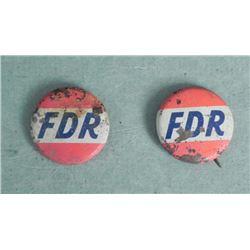 2 FDR-ROOSEVELT CAMPAIGN PINBACK BUTTONS-ORIGINAL