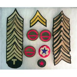 WWII US Divisional Patches and Chevrons - Case