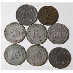 1875-1910 Lot of 8 German Coins 10 & 2 Peening Deutches