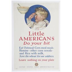 US Food Administration WWII Little Americans Ad Poster