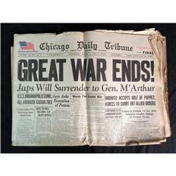 """""""GREAT WAR ENDS"""" AUG 15,1945 CHICAGO TRIBUNE-FULL PAPER"""