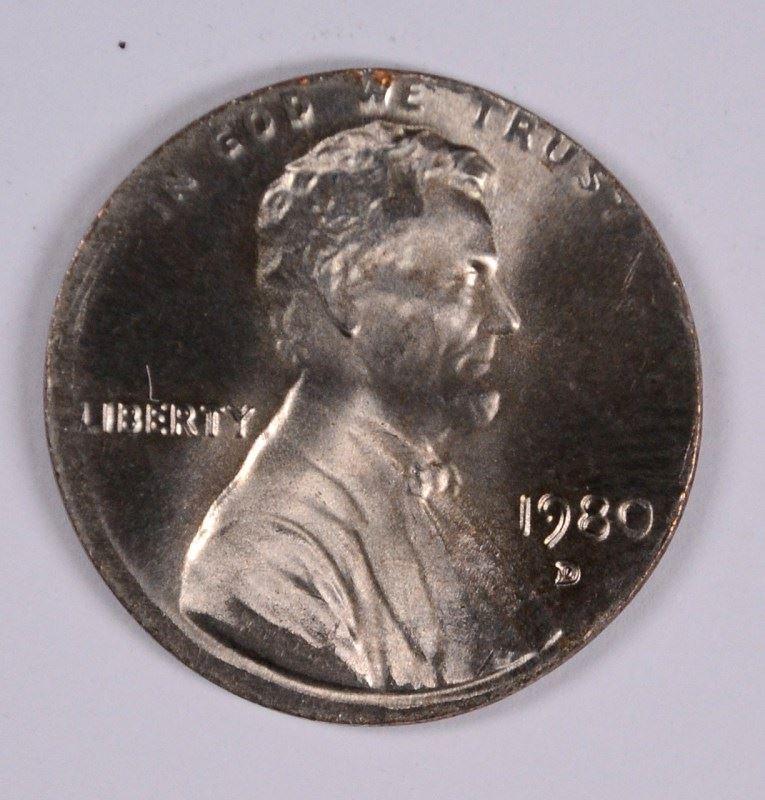 1980-D LINCOLN CENT (MAJOR MINT ERROR-STRUCK ON DIME PLANCHET)