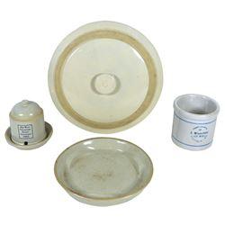 Stoneware (4), beater jar, Compliments of B. Wiederhold, Gen Mdse.-Dickeyville, WI, VG cond w/old ha