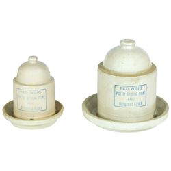 Stoneware bell feeders (2), Red Wing 1 qt & 1/2 gal 2-pc feeders, 1/2 gal has sm base chips on feede