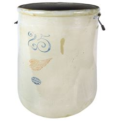 """Stoneware crock, Red Wing 25 gal w/6"""" wing, VG/Exc cond w/minor base roughness, 25""""H x 20""""Dia."""