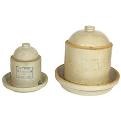 Stoneware bell feeders (2), Red Wing 1 gal & 2 gal 2-pc feeders, 1 gal feeder Exc cond w/sm inner ch