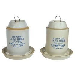 Stoneware feeders (2), Red Wing Ko-Rec Feeders, both 1 gal but different patent nos., 1 Exc cond, ot