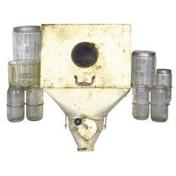 Kitchen cabinet jars & flour bin (9), Triple Skip pattern jars (8) & metal flour bin, 4 jars missing