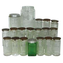 Kitchen cabinet jars (19),  Hoosier spice jars w/swing/swivel metal lids, Mission pattern coffee jar