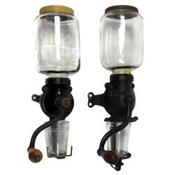 """Coffee grinders (2), Arcade Crystal No. 1 w/embossed lid & catch cup, Exc cond, 18""""H x 4.5""""Dia & unm"""