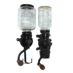 """Coffee grinders (2), Arcade No. 25, embossed lid, no catch cup o/wise Exc cond, 15.5""""H x 4.5""""W & Arc"""