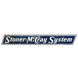 """Advertising sign, Stoner-McCray System, porcelain, minor upper left corner loss, o/wise Exc cond, 8"""""""