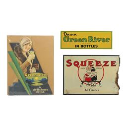 """Soda fountain signs (3), Squeeze All Flavors, Good cond w/heavy loss rt side, 20""""H x 28.5""""W; Drink G"""