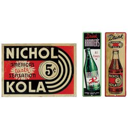 Soda fountain signs (3), two Nichol Kola by Parker Metal Dec Co.-Balto, MD, embossed metal, Good+ &