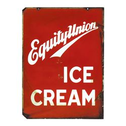 """Soda fountain sign, Equity-Union Ice Cream, 2-sided porcelain, 1 side Good/VG other Poor/Fair, 28""""H"""