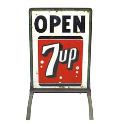 """Soda fountain curb sign, 7Up, 2-sided metal, Good+ cond, 45""""H x 21""""W."""
