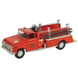 "Toy fire truck, Tonka ""5"" pumper w/hoses, pressed steel, VG/Exc cond w/minor paint loss, 17.5""L."
