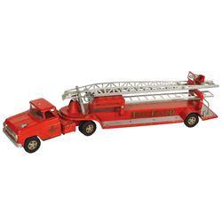 "Toy fire truck, Tonka ""5""  700 Hydraulic T. F. D. aerial ladder, Tonka Toys-Mound, MN, pressed steel"