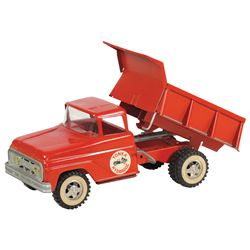 """Toy dump truck, Tonka Hydraulic, crank operated, pressed steel, c.1960's, Exc cond, 13""""L."""