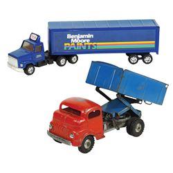 Toy trucks (2), Structo-Freeport, ILL, dump truck (missing tailgate & broken front bumper), pressed
