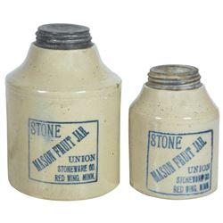 Stoneware fruit jars (2), Red Wing Stone Mason 1/2 gal & 1 qt squatty, both blue label, 1/2 gal has