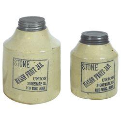 Stoneware fruit jars (2), Red Wing Stone Mason 1/2 gal & 1 qt squatty, both black label, Exc cond, 6