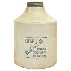 "Stoneware fruit jar, Red Wing Stone Mason, 1 gal w/black label, 1.5"" glaze roughness on shoulder, o/"