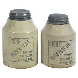 Stoneware fruit jars (2), Red Wing Stone Mason 1 qt & 1 qt squatty, both black label, squatty has ti
