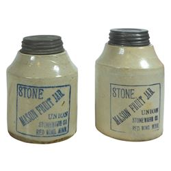 Stoneware fruit jars (2), Red Wing Stone Mason 1 qt (black) & 1 qt squatty (blue), minor base chip o