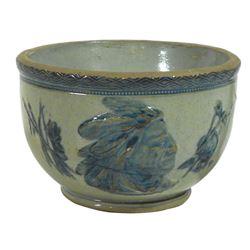 "Stoneware bowl, Old Sleepy Eye, Flemish blue & gray, Exc cond, 4""H & 6.5""Dia."
