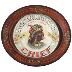 Country store barrel label, Sleepy Eye Milling Co., great Old Sleepy Eye Indian graphic, litho on pa