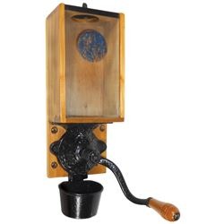 """Coffee grinder, Arcade X-ray w/decal on glass, all orig w/metal catch cup, Exc cond, 15.5""""H."""