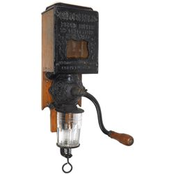 Coffee grinder, Golden Rule, Citizens Wholesale Supply Co.-Columbus, OH, cast iron front, rectangula