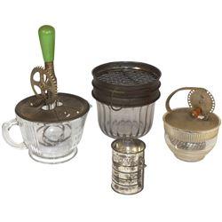 Kitchenware (4), flour sifter, glass w/metal mech, 2 cup glass beater, Androck beater jar & Chocolat